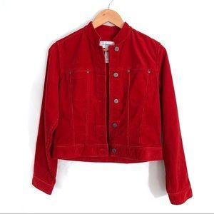 Liz Claiborne Red Corduroy Jean Jacket | Size Sm